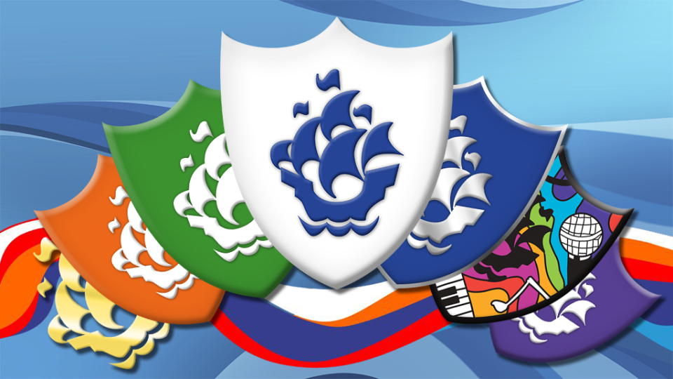 The Blue Peter badges.
